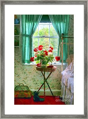 Geraniums In The Bedroom Framed Print by Nikolyn McDonald
