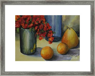 Geraniums With Pear And Oranges Framed Print by Maria Hunt