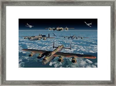 German Fw-190 Fighter Planes Attacking Framed Print by Mark Stevenson