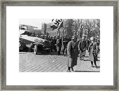 German Panzer In Vienna Framed Print by Underwood Archives