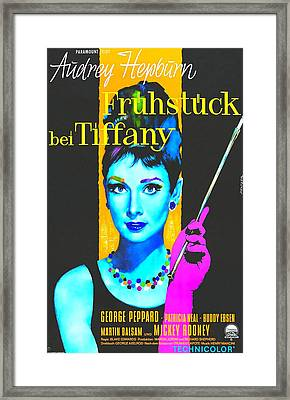 German Poster Of Breakfast At Tiffanys Framed Print by Art Cinema Gallery