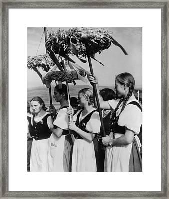 German Women Wearing Traditional Folk Framed Print by Everett