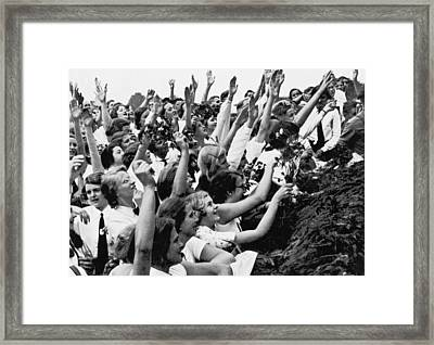 Germans Cheering Hitler Framed Print by Underwood Archives
