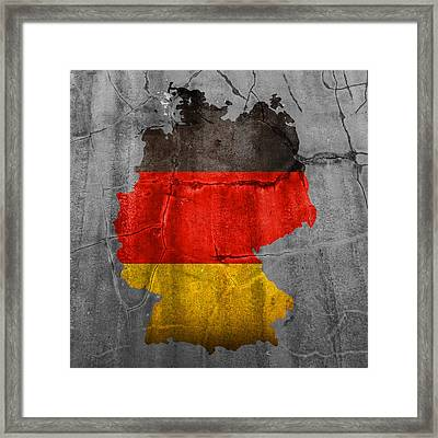 Germany Flag Country Outline Painted On Old Cracked Cement Framed Print by Design Turnpike
