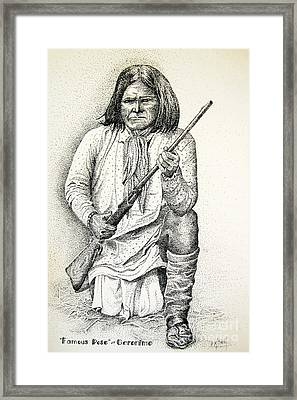 Geronimo's Famous Pose Framed Print by Marilyn Smith