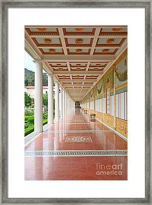 Getty Villa - Covered Walkway Framed Print by Jamie Pham