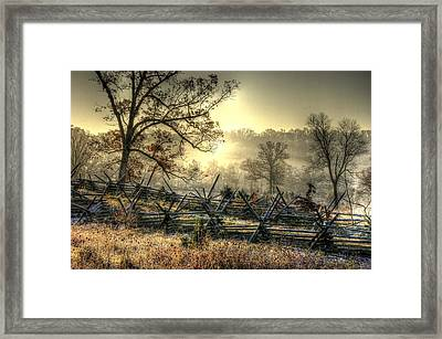 Gettysburg At Rest - Sunrise Over Northern Portion Of Little Round Top Framed Print by Michael Mazaika