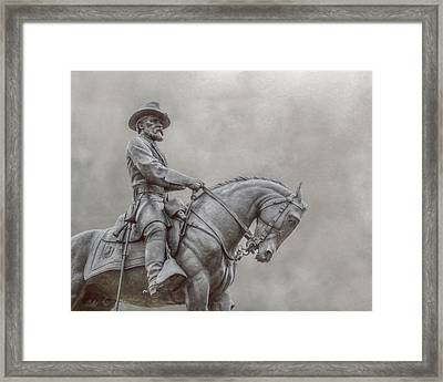 Gettysburg Battlefield General Statue Framed Print by Randy Steele