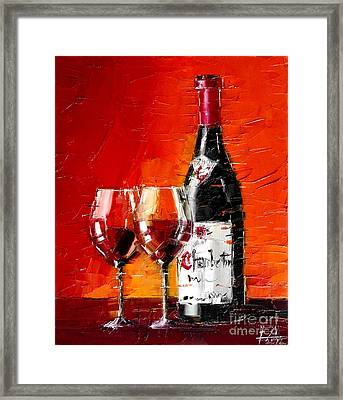 Still Life With Wine Bottle And Glass IIi Framed Print by Mona Edulesco