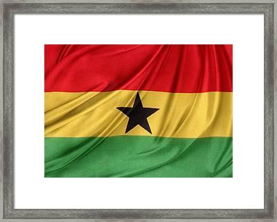 Ghana Flag Framed Print by Les Cunliffe