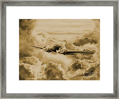 Ghost Flight- Amelia Earhart Sepia Framed Print by Sarah Batalka