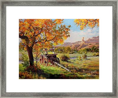 Ghost Ranch Old Wagon Framed Print by Gary Kim