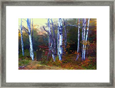 Ghoul In A Halloween Forest Framed Print by Wayne King