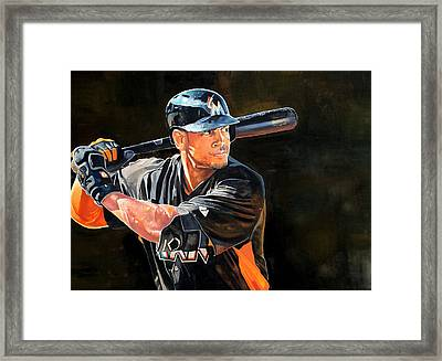 Giancarlo Stanton - Miami Marlins Framed Print by Michael  Pattison