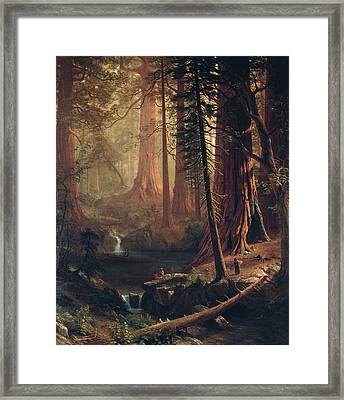 Giant Redwood Trees Of California Framed Print by Albert Bierstadt