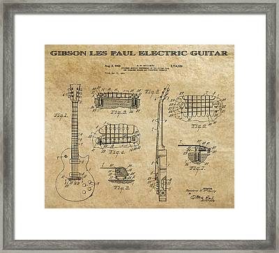 Gibson Les Paul Guitar Patent Art 1955 Framed Print by Daniel Hagerman