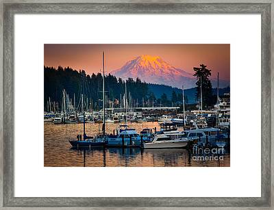 Gig Harbor Dusk Framed Print by Inge Johnsson