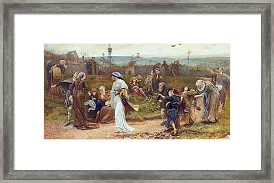 Gilbert A Beckets Troth The Saracen Maiden Entering London At Sundow  Framed Print by George John Pinwell
