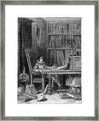 Gilbert Writing On Magnetism In 1575 Framed Print by Science Photo Library