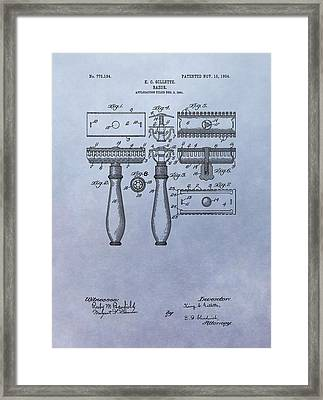 Gillette Razor Patent Framed Print by Dan Sproul