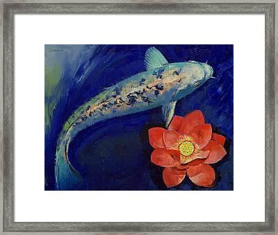 Gin Matsuba Koi And Lotus Framed Print by Michael Creese