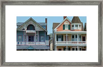 Gingerbread Beach Homes Pano - Ocean Grove Nj Framed Print by Anna Lisa Yoder