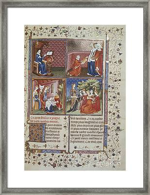 Gioauthor And Dedication Scenes Framed Print by British Library