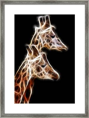 Giraffe Duo Fractal Framed Print by Pati Photography