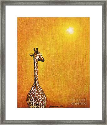 Giraffe Looking Back Framed Print by Jerome Stumphauzer