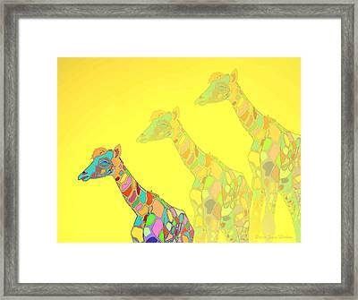 Giraffe X 3 - Yellow - The Card Framed Print by Joyce Dickens