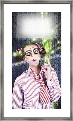 Girl Accounting Nerd Showing Finance Growth Graph Framed Print by Jorgo Photography - Wall Art Gallery