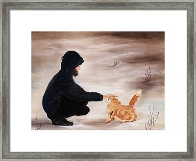 Girl And A Cat Framed Print by Anastasiya Malakhova