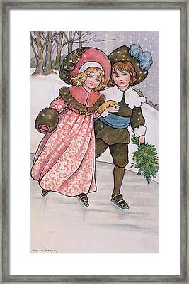 Girl And Boy Skating Framed Print by Florence Hardy