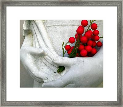 Girl And Red Berries Framed Print by Jeff Lowe