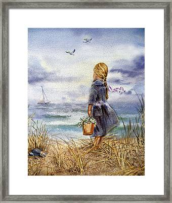 Girl And The Ocean Framed Print by Irina Sztukowski