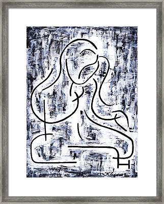 Girl Combing Her Hair Framed Print by Kamil Swiatek