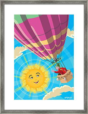 Girl In A Balloon Greeting A Happy Sun Framed Print by Martin Davey