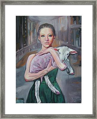 Girl In A Big City Framed Print by May Lively