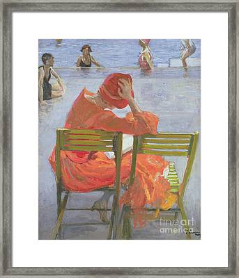 Girl In A Red Dress Reading By A Swimming Pool Framed Print by Sir John Lavery