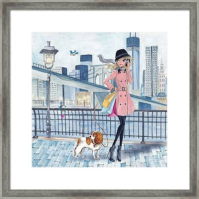 Girl In New York Framed Print by Caroline Bonne-Muller