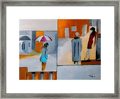 Girl In Red Framed Print by Mirko
