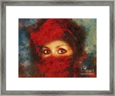 Girl In Red Turban Framed Print by Mo T