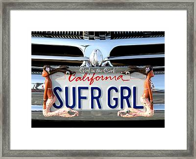 Girl In The Curl Framed Print by Ron Regalado