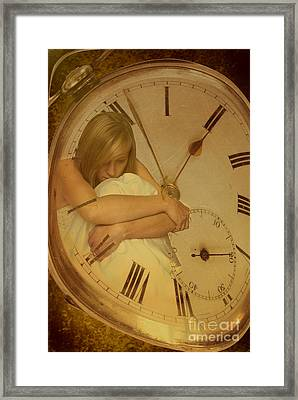 Girl In White Dress In Pocket Watch Framed Print by Amanda Elwell
