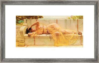Girl In Yellow Drapery Framed Print by Pg Reproductions