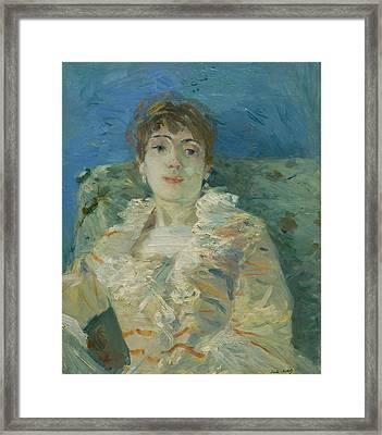 Girl On A Divan Framed Print by Berthe Morisot