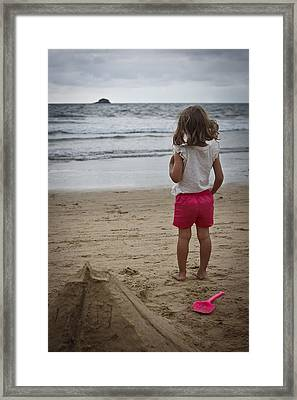 Girl On Beach Framed Print by Kevin Barske