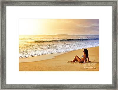 Girl On Seashore  Framed Print by Carlos Caetano