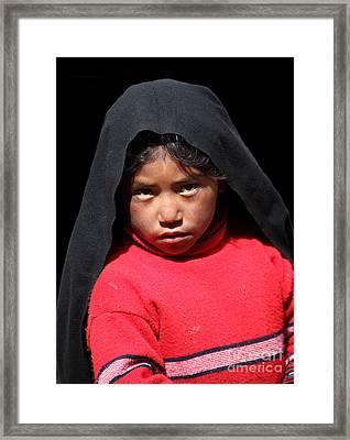 Girl On Taquile Island Framed Print by James Brunker