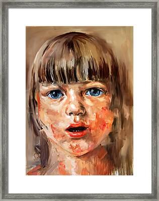Girl Portrait Framed Print by Michael Tsinoglou